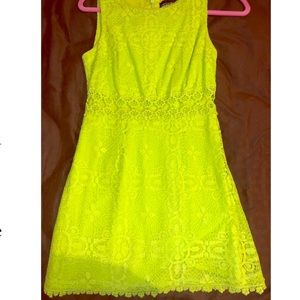 Top shop lime green lace dress, size 2
